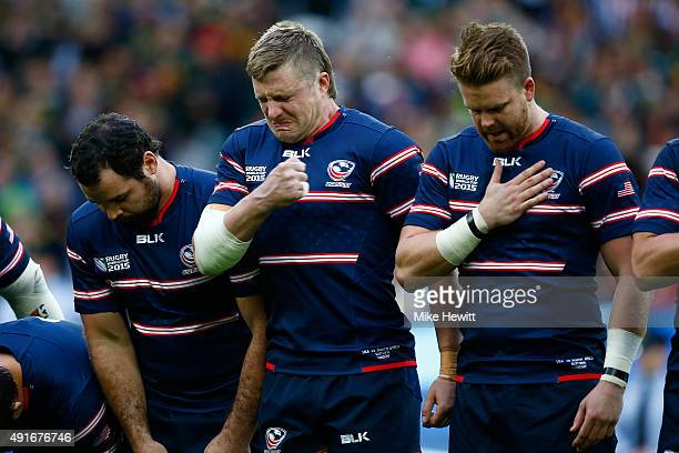 Louis Stanfill of the United States shows his emotions during the 2015 Rugby World Cup Pool B match between South Africa and USA at the Olympic...