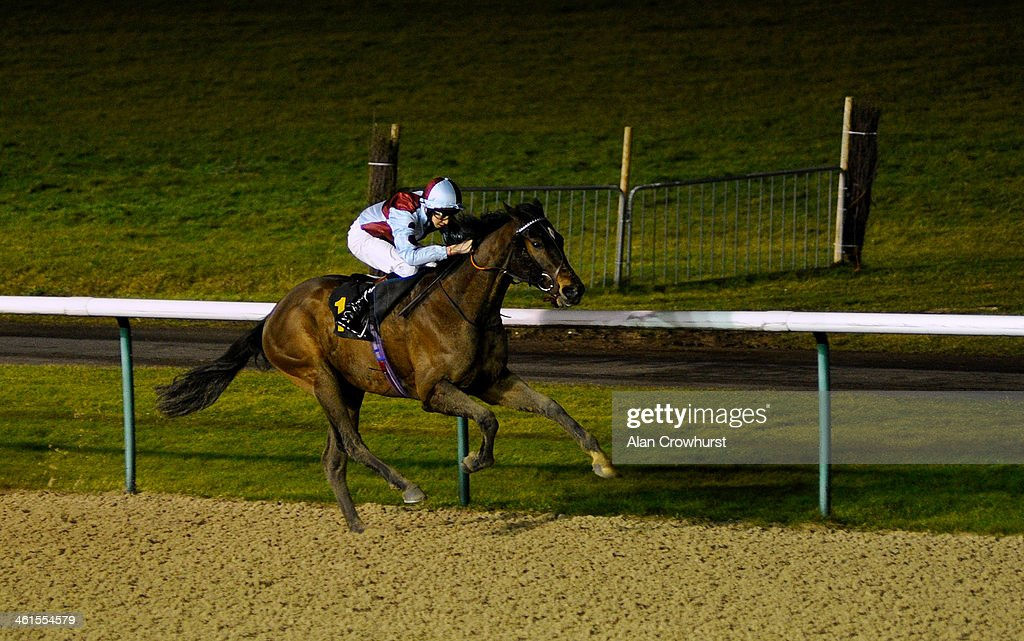 Louis Steward riding Flash Crash win The 32Redcom Handicap Stakes at Wolverhampton racecourse on January 09 2014 in Wolverhampton England