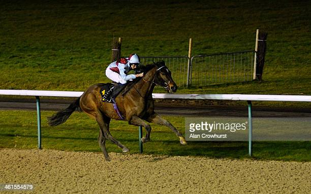 Louis Steward riding Flash Crash win The 32Redcom Handicap Stakes at Wolverhampton racecourse on January 09 2014 in Wolverhampton England