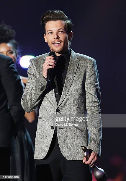 Louis Tomlinson accepts the British Video award for One Direction at the BRIT Awards 2016 at The O2 Arena on February 24 2016 in London England