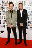 Louis Tomlinson and Liam Payne arrive the BRIT Awards 2016 at The O2 Arena on February 24 2016 in London England
