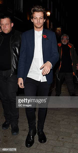 Louis Tomlinson arrive at Cirque le Soir night club in Central London on November 2 2015 in London England