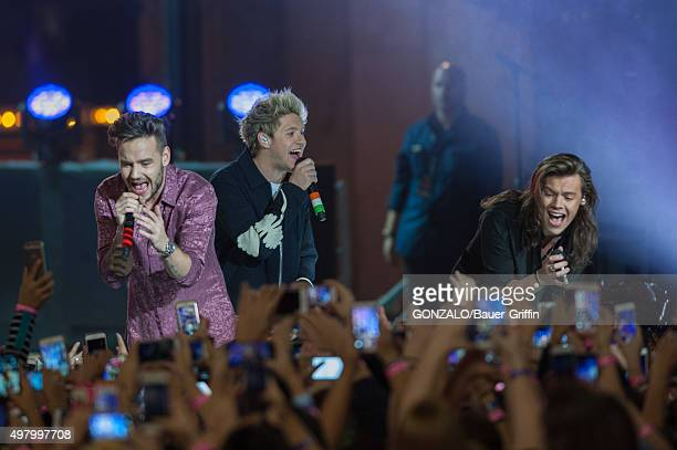 Louis Tomlinson Harry Styles and Niall Horan of the band One Direction are seen performing on 'Jimmy Kimmel Live' on November 19 2015 in Los Angeles...