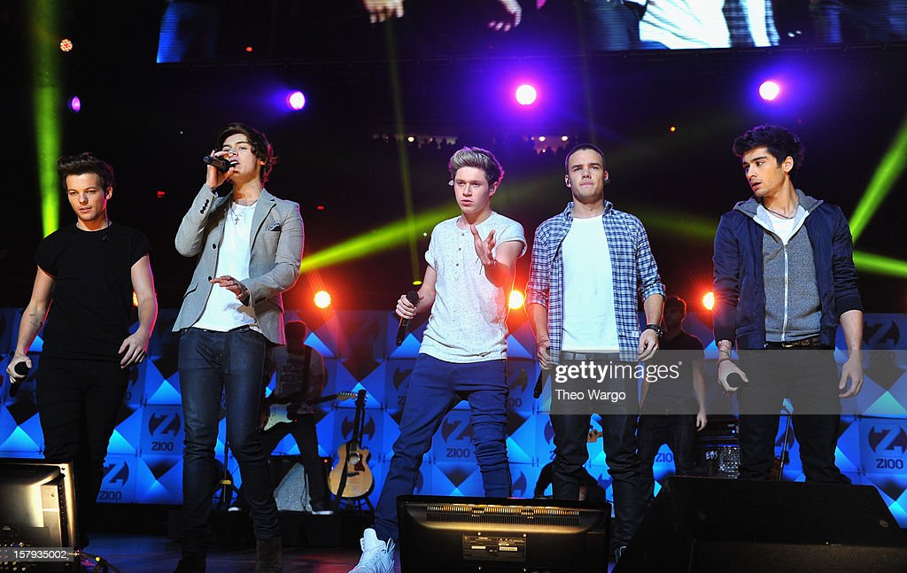 Louis Tomlinson, Harry Styles, Niall Horan, Liam Payne and Zayn Malik perform onstage during Z100's Jingle Ball 2012, presented by Aeropostale, at Madison Square Garden on December 7, 2012 in New York City.
