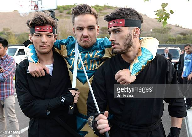 Louis Tomlinson Liam Payne and Zayn Malik on set during One Direction celebrates 1D Day at YouTube Space LA a 7hour livestream event broadcast...