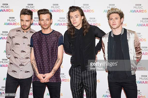 Louis Tomlinson Liam Payne Harry Styles and Niall Horan of One Direction attend the BBC Music Awards at Genting Arena on December 10 2015 in...