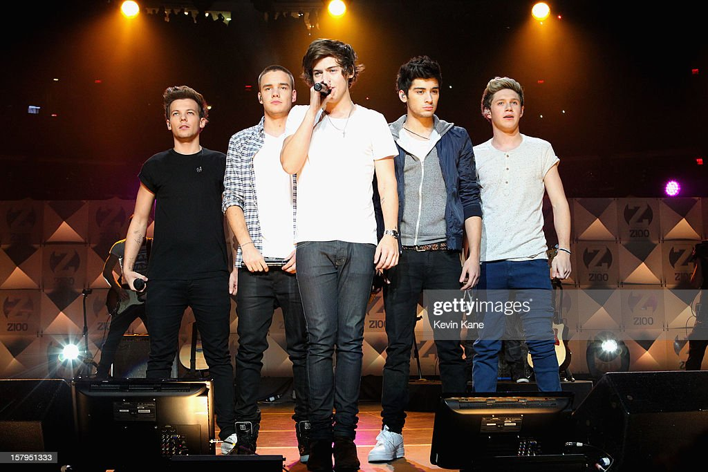 Louis Tomlinson Liam Payne Harry Styles Zayn Malik and Niall Horan of One Direction perform onstage during Z100's Jingle Ball 2012 presented by...
