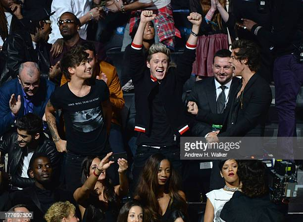 Louis Tomlinson Niall Horan and Harry Styles attend the 2013 MTV Video Music Awards at the Barclays Center on August 25 2013 in the Brooklyn borough...