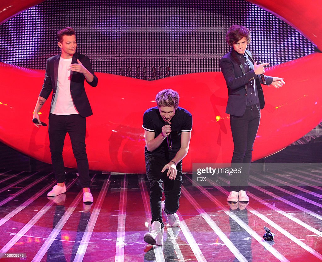 Louis Tomlinson, Niall Horan and Harry Styles of One Direction performs during FOX's 'The X Factor' Season 2 Finale (8:00-9:00PM ET/PT) on FOX on December 20, 2012 in Hollywood, California.
