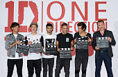 Louis Tomlinson Niall Horan Zayn Malik Liam Payne Harry Styles and Morgan Spurlock attend a photo call and press conference for 'One Direction This...