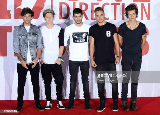 Louis Tomlinson Niall HoranZayn Malik Liam Payne and Harry Styles of One Direction attends a photocall for 'One Direction This Is Us' at Big Sky...
