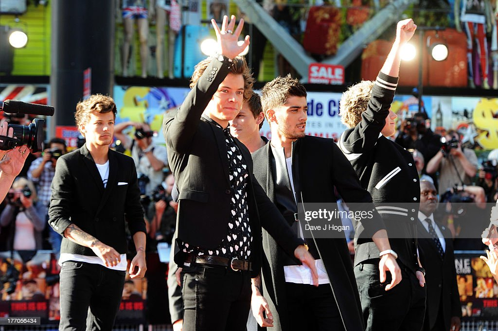 Louis Tomlinson, Zayn Malik, Niall Horan, Harry Styles and Liam Payne of One Direction attend the world premiere of 'One Direction - This Is Us' at The Empire Leicester Square on August 20, 2013 in London, England.