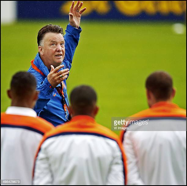 Louis van Gaal during a training session of the Netherlands on May 7 2014 in Hoenderloo The Netherlands