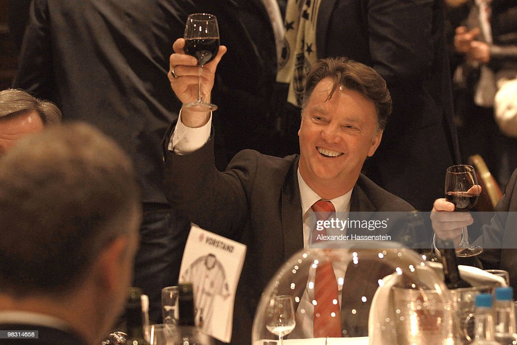 Louis van Gaal, head coach of Bayern Muenchen, attends the Champions League dinner at the Marriott Worsley Park hotel after the UEFA Champions League quarter final second leg match between Manchester United and Bayern Muenchen at Old Trafford on April 7, 2010 in Manchester, England.