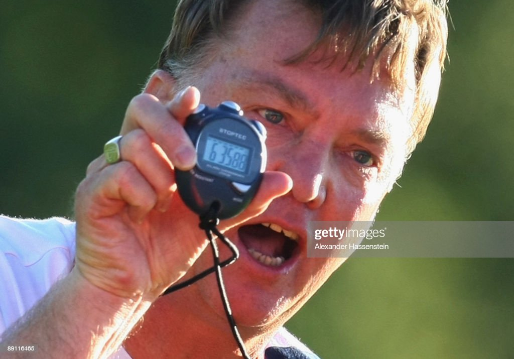 Louis van Gaal, head coach of Bayern Muenchen talks to his player during a training session at the Anton Mall stadium at day three of the FC Bayern Muenchen training camp on July 20, 2009 in Donaueschingen, Germany.