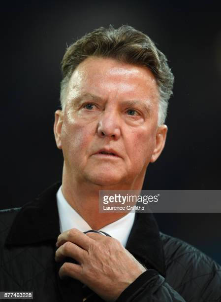 Louis van Gaal looks on during the UEFA Champions League group F match between Manchester City and Feyenoord at Etihad Stadium on November 21 2017 in...