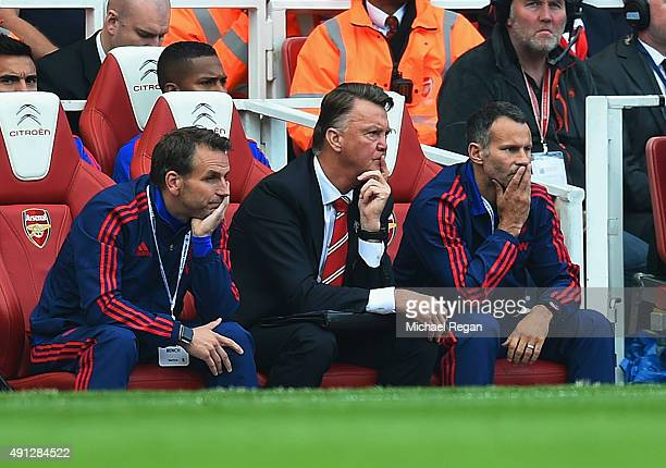 Louis van Gaal manager of Manchester United and Ryan Giggs assistant manager of Manchester United look on during the Barclays Premier League match...