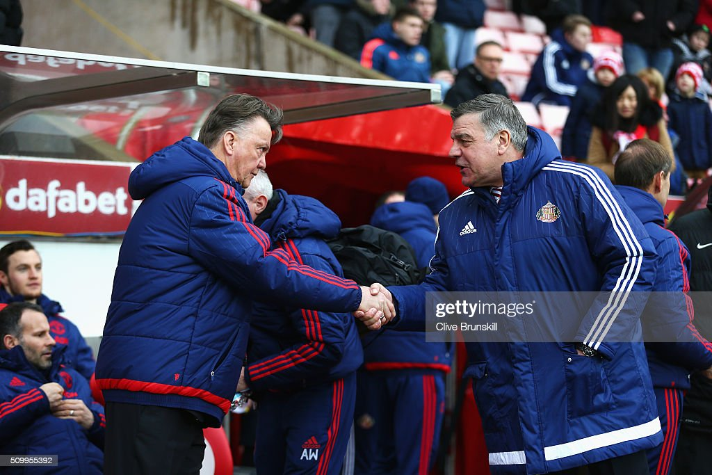 Louis van Gaal Manager of Manchester United and <a gi-track='captionPersonalityLinkClicked' href=/galleries/search?phrase=Sam+Allardyce&family=editorial&specificpeople=214691 ng-click='$event.stopPropagation()'>Sam Allardyce</a>, manager of Sunderland shake hands prior to the Barclays Premier League match between Sunderland and Manchester United at the Stadium of Light on February 13, 2016 in Sunderland, England.