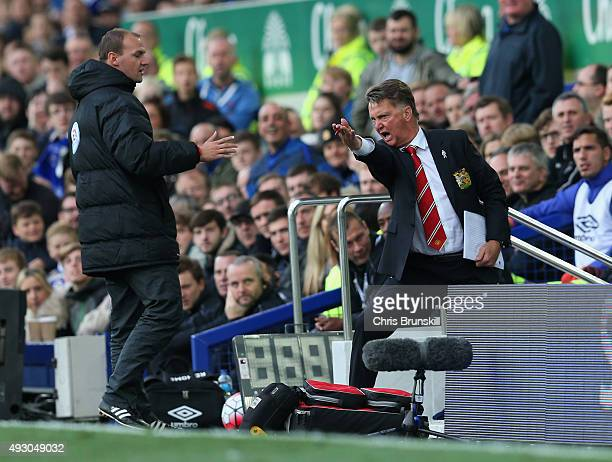 Louis van Gaal manager of Manchester United argues with the fourth official during the Barclays Premier League match between Everton and Manchester...