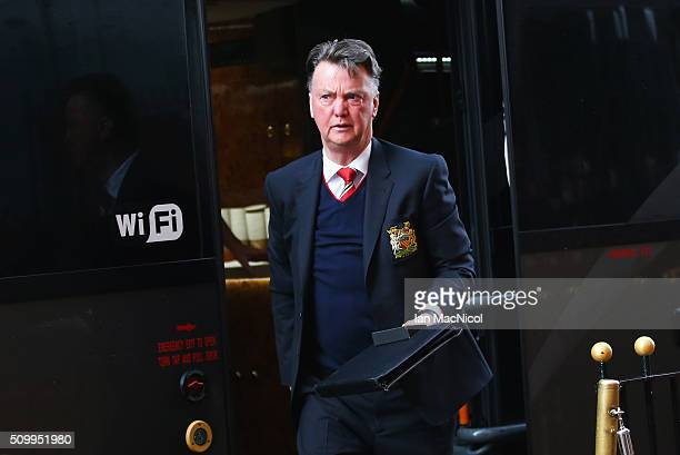 Louis van Gaal Manager of Manchester United is seen on arrival at the stadium prior to the Barclays Premier League match between Sunderland and...