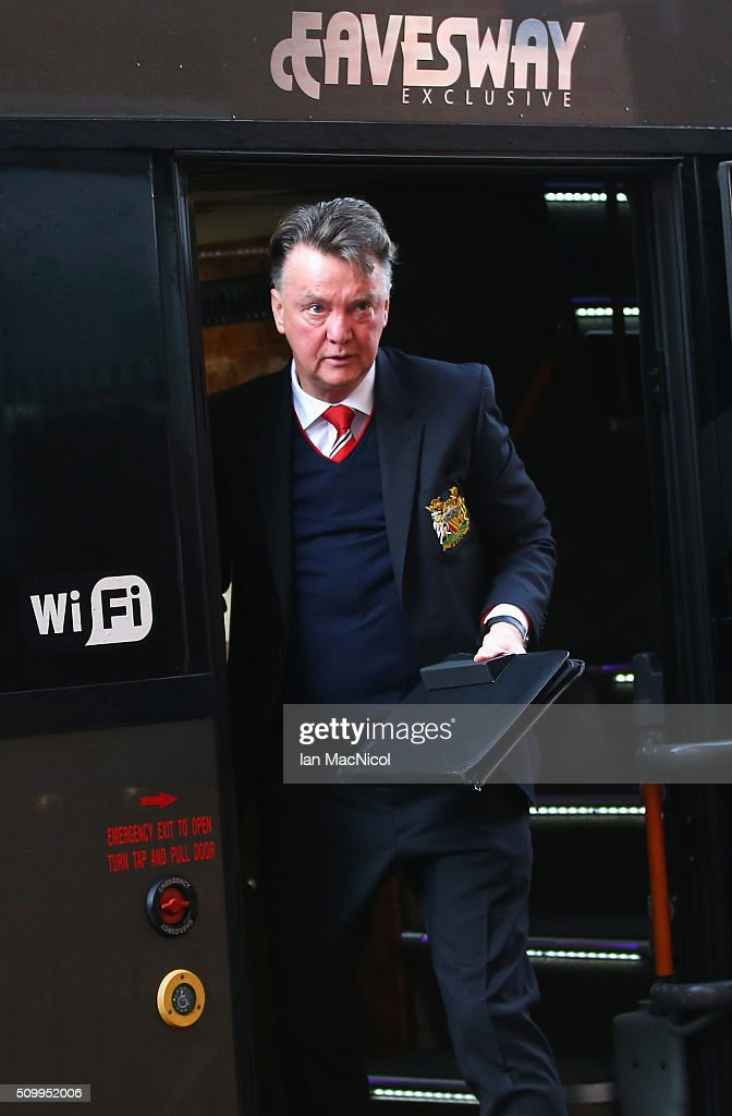 Louis van Gaal Manager of Manchester United is seen on arrival at the stadium prior to the Barclays Premier League match between Sunderland and Manchester United at the Stadium of Light on February 13, 2016 in Sunderland, England.