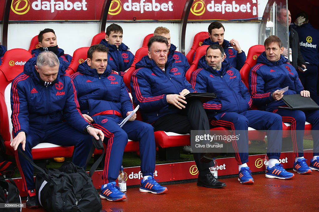 Louis van Gaal (C) Manager of Manchester United is seen on the bench prior to the Barclays Premier League match between Sunderland and Manchester United at the Stadium of Light on February 13, 2016 in Sunderland, England.