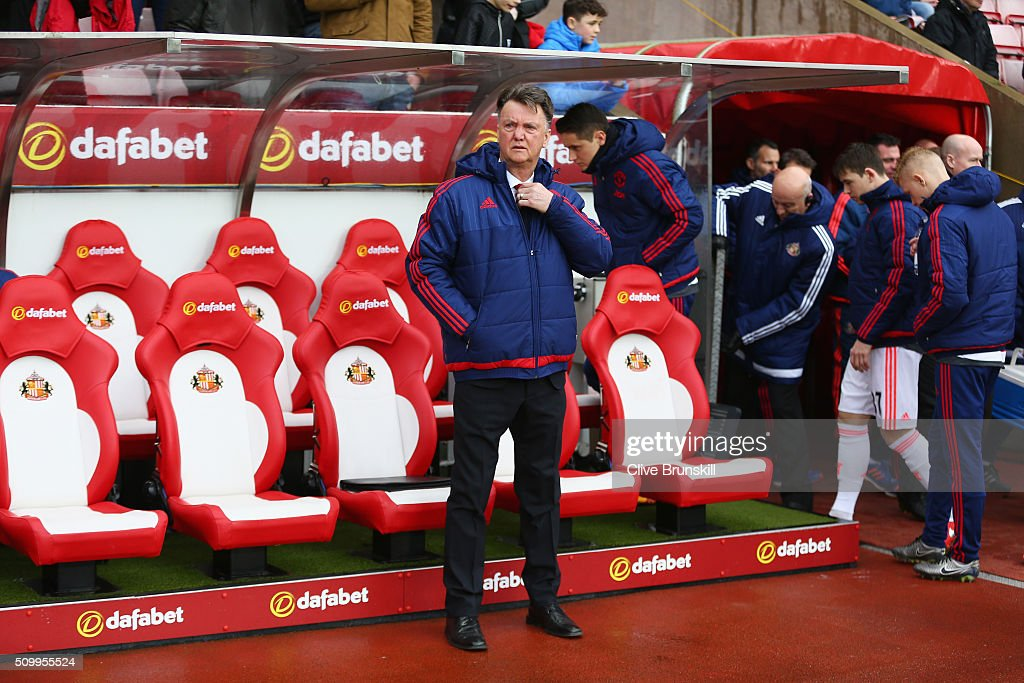 Louis van Gaal Manager of Manchester United is seen on the bench prior to the Barclays Premier League match between Sunderland and Manchester United at the Stadium of Light on February 13, 2016 in Sunderland, England.