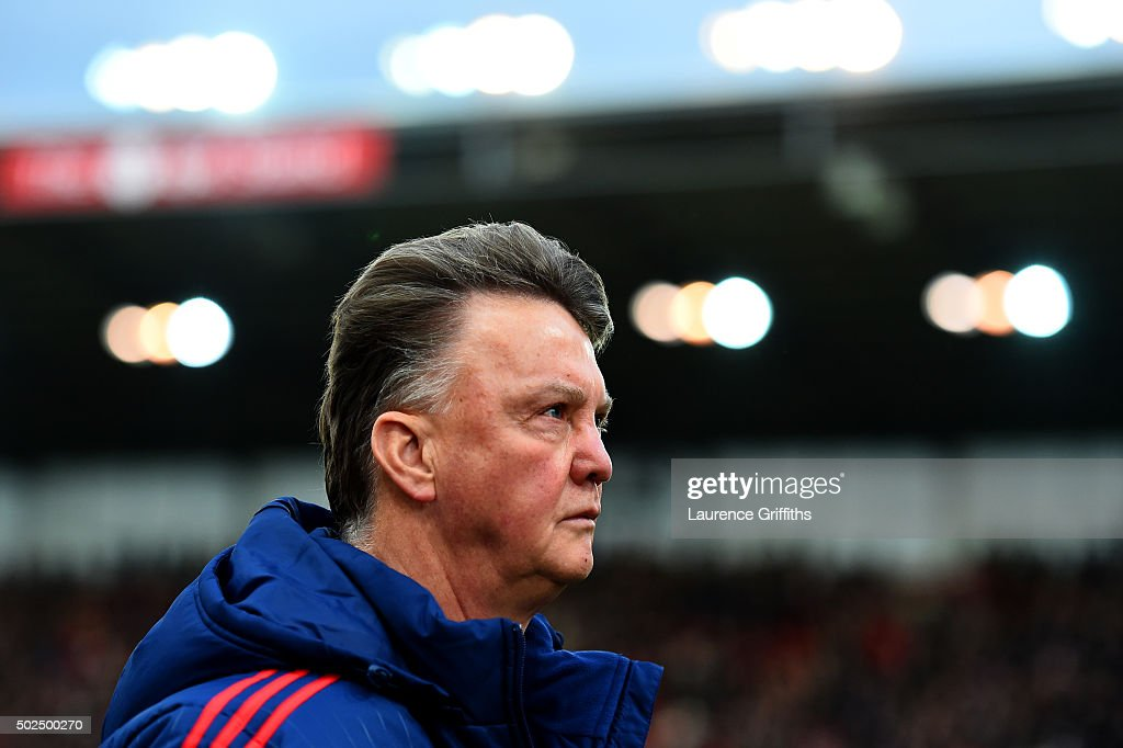 Louis van Gaal, manager of Manchester United leaves the pitch after the Barclays Premier League match between Stoke City and Manchester United at Britannia Stadium on December 26, 2015 in Stoke on Trent, England.