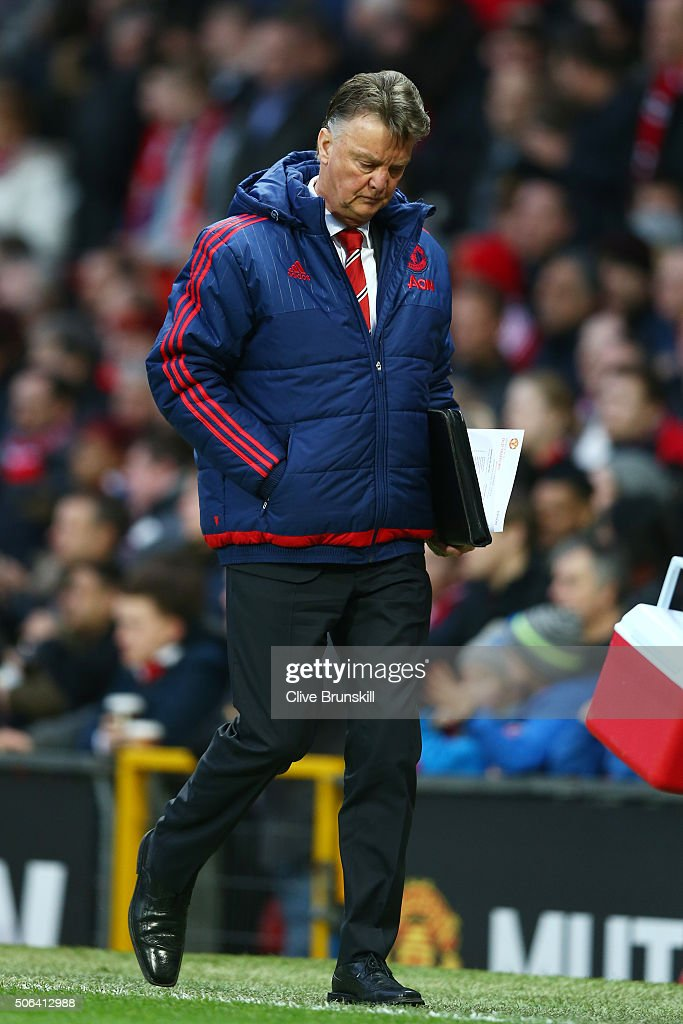 Louis van Gaal Manager of Manchester United leaves the pitch at the half time during the Barclays Premier League match between Manchester United and Southampton at Old Trafford on January 23, 2016 in Manchester, England.