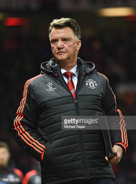 Louis van Gaal manager of Manchester United looks on prior to the UEFA Champions League Group B match between Manchester United FC and PSV Eindhoven...
