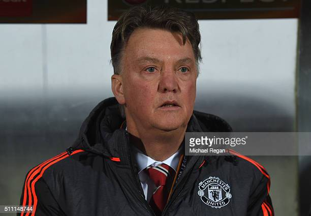 Louis van Gaal Manager of Manchester United looks on prior to the UEFA Europa League round of 32 first leg match between FC Midtjylland and...