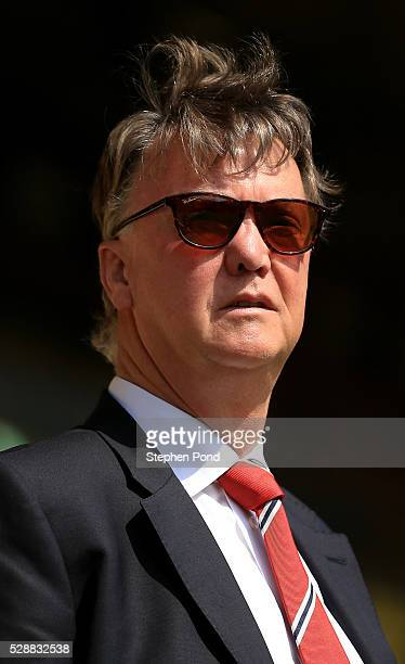Louis van Gaal Manager of Manchester United looks on prior to the Barclays Premier League match between Norwich City and Manchester United at Carrow...