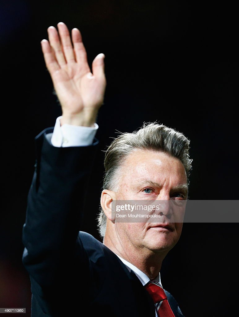 Louis van Gaal manager of Manchester United salutes the crowd after victory in the UEFA Champions League Group B match between Manchester United FC and VfL Wolfsburg at Old Trafford on September 30, 2015 in Manchester, United Kingdom.