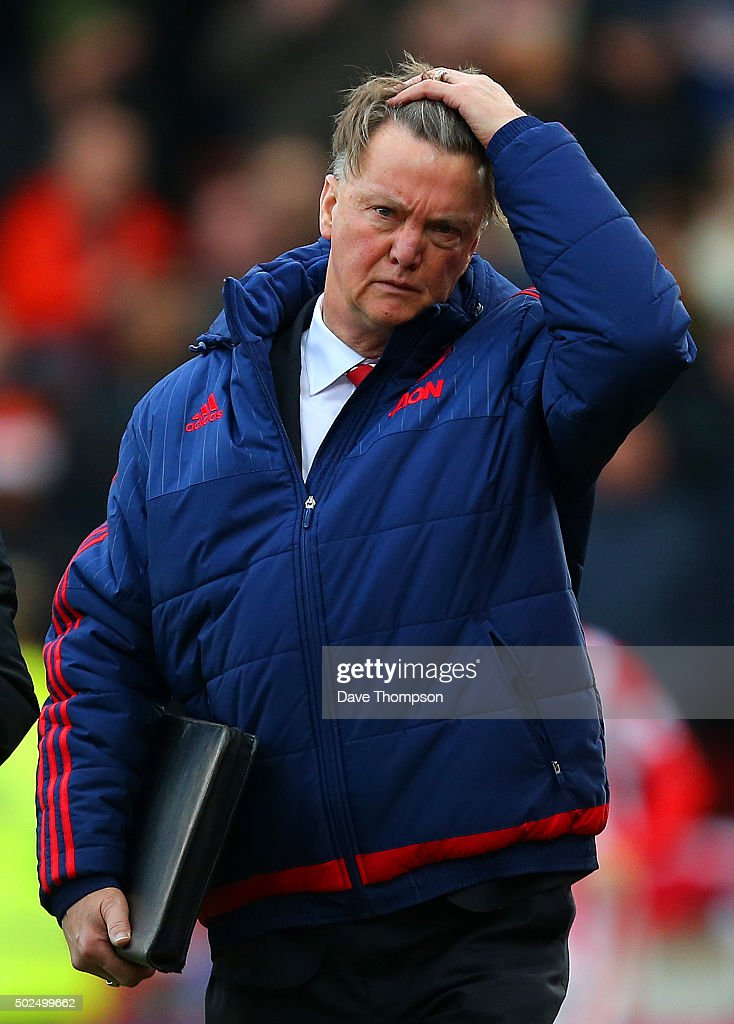 Louis van Gaal, manager of Manchester United walks out for the second half of the Barclays Premier League match between Stoke City and Manchester United at Britannia Stadium on December 26, 2015 in Stoke on Trent, England.