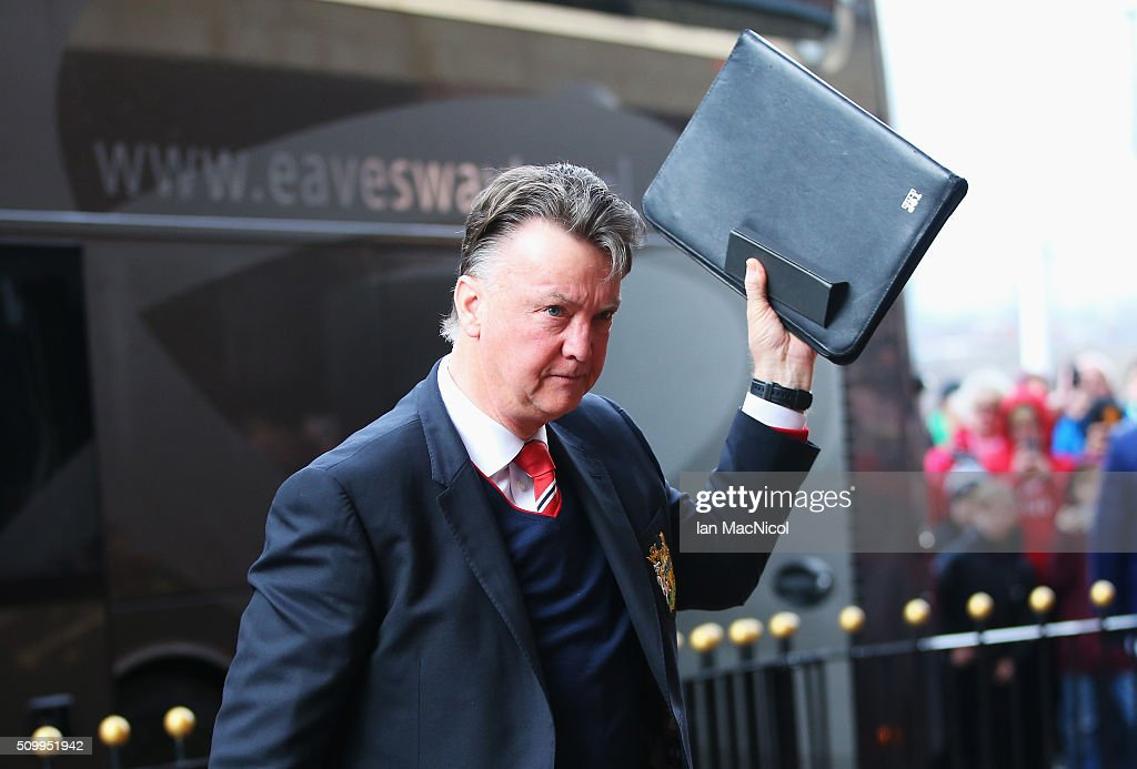 Louis van Gaal Manager of Manchester United waves to supporters on arrival at the stadium prior to the Barclays Premier League match between Sunderland and Manchester United at the Stadium of Light on February 13, 2016 in Sunderland, England.