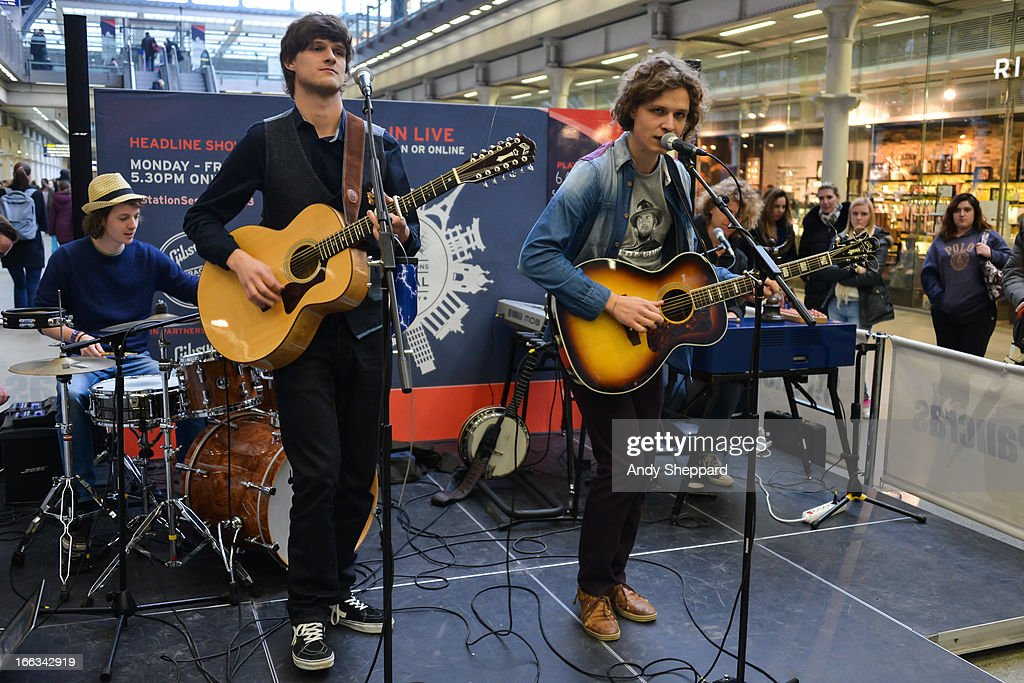 Louis van Sinderen, Ferdinand Jonk, Frank Bond and Wiiliam Bond of the Dutch band AlascA perform at Station Sessions Festival 2013 at St Pancras Station on April 11, 2013 in London, England.