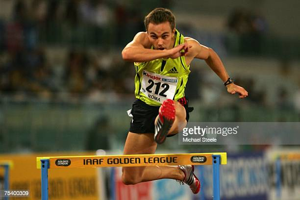 Louis Van Zyl of South Africa on his way to winning the men's 400m hurdles during the IAAF Golden Gala meeting at the Olympic Stadium on July 132007...