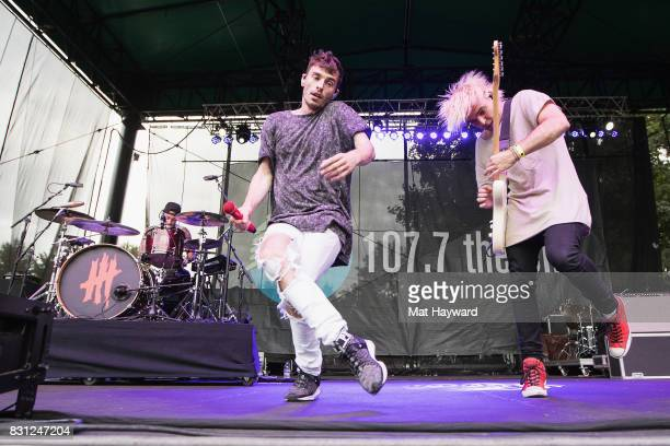 Louis Vecchio David Boyd and Soren Hansen of New Politics perform on stage during the Summer Camp Music Festival hosted by 1077 The End at Marymoor...