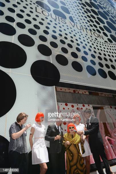 Louis Vuitton Chairman and CEO Yves Carcelle and Yayoi Kusama attend the Louis Vuitton And Yayoi Kusama Collaboration Unveiling at Louis Vuitton...