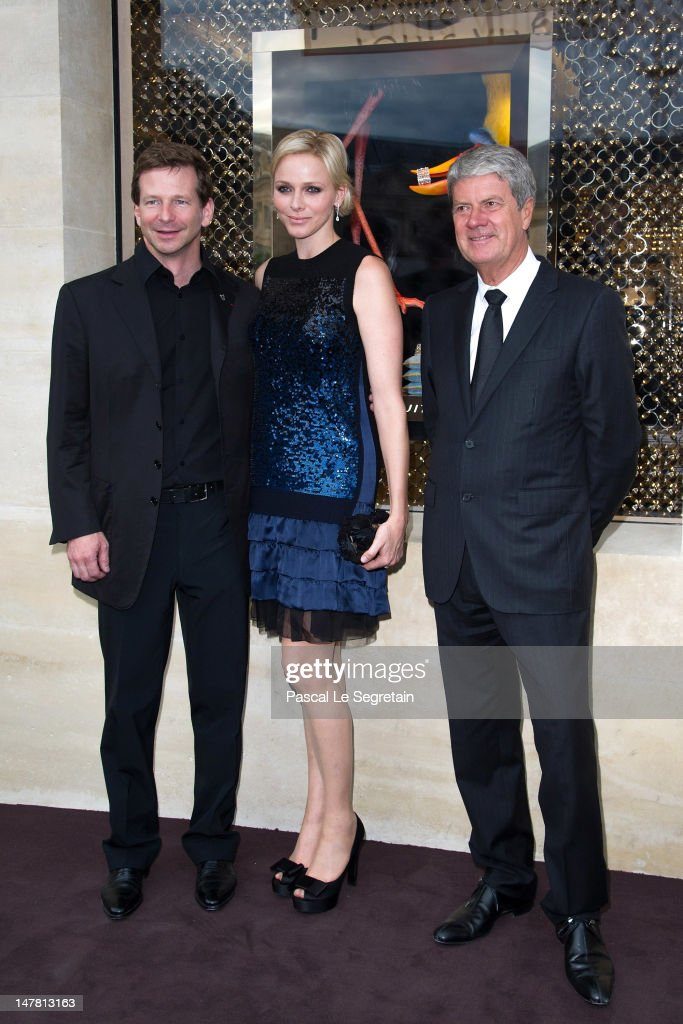 Louis Vuitton Jewelry Designer, Lorenz Baumer, Princess Charlene and <a gi-track='captionPersonalityLinkClicked' href=/galleries/search?phrase=Yves+Carcelle&family=editorial&specificpeople=224753 ng-click='$event.stopPropagation()'>Yves Carcelle</a> attend the Louis Vuitton new boutique opening as part of Paris Haute-Couture Fashion Week Fall / Winter 2012/13 at Place Vendome on July 3, 2012 in Paris, France.