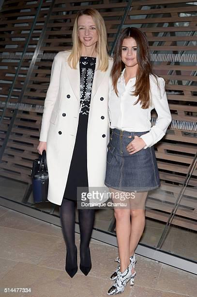 Louis Vuitton's executive vice president Delphine Arnault and Actress Selena Gomez attend the Louis Vuitton show as part of the Paris Fashion Week...