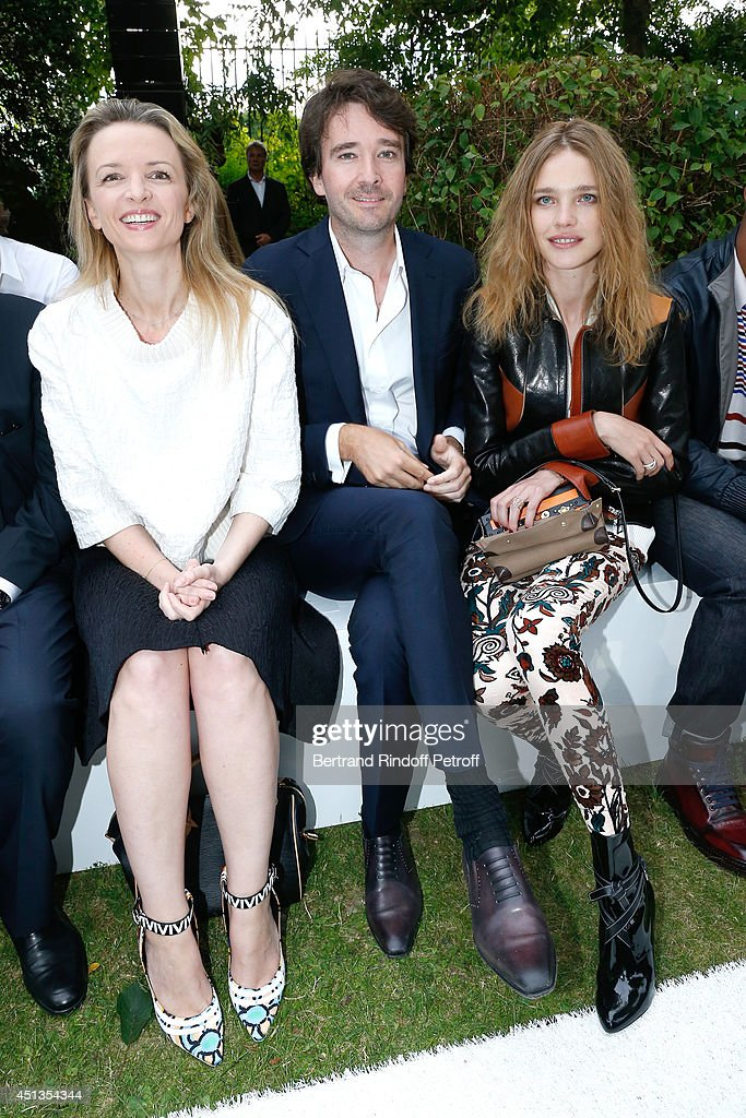 Louis Vuitton's executive vice president Delphine Arnault her brother General manager of Berluti Antoine Arnault and Natalia Vodianova attend the...