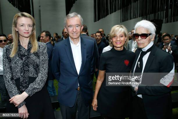 Louis Vuitton's executive vice president Delphine Arnault Owner of LVMH Luxury Group Bernard Arnault his wife Helene MercierArnault and Stylist Karl...