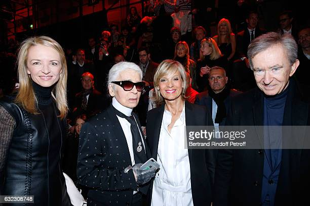 Louis Vuitton's executive vice president Delphine Arnault Stylist Karl Lagerfeld Owner of LVMH Luxury Group Bernard Arnault and his wife Helene...