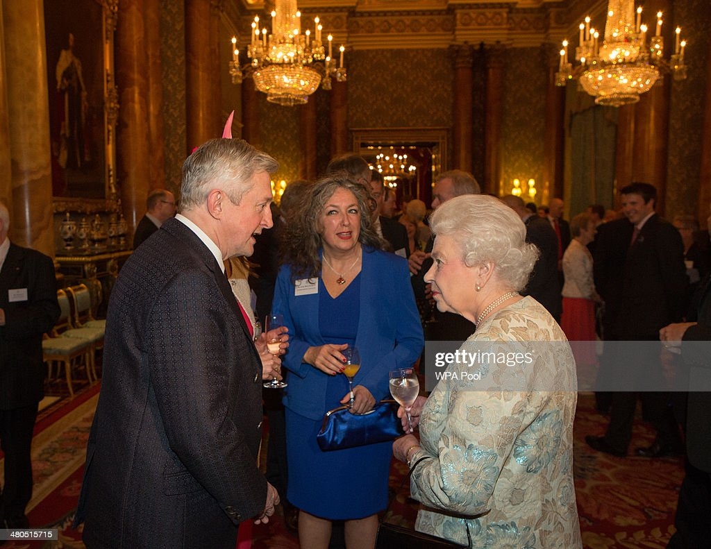 <a gi-track='captionPersonalityLinkClicked' href=/galleries/search?phrase=Louis+Walsh&family=editorial&specificpeople=240131 ng-click='$event.stopPropagation()'>Louis Walsh</a> speaks to Queen <a gi-track='captionPersonalityLinkClicked' href=/galleries/search?phrase=Elizabeth+II&family=editorial&specificpeople=67226 ng-click='$event.stopPropagation()'>Elizabeth II</a> at the Irish Community Reception at Buckingham Palace on March, 25, 2014. The reception is in a advance of Ireland's President Michael D Higgins who will be the first Irish President to pay a state visit to Britain in April.