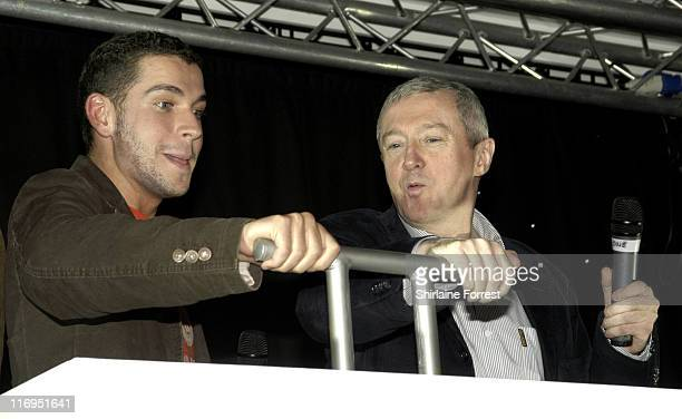 Louis Walsh with Shayne Ward during Christmas Lights Ceremony at the Trafford Centre in Manchester October 27 2005 at Trafford Centre in Manchester...