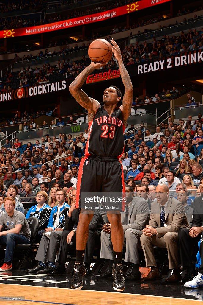 Louis Wiliams of the Toronto Raptors takes a shot against the Orlando Magic on April 10 2015 at Amway Center in Orlando Florida NOTE TO USER User...