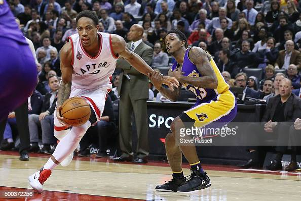 Louis Williams figures out a way to slow down former teammate DeMar DeRozan as Toronto Raptors beat the Los Angeles Lakers 10293 at Air Canada Centre...