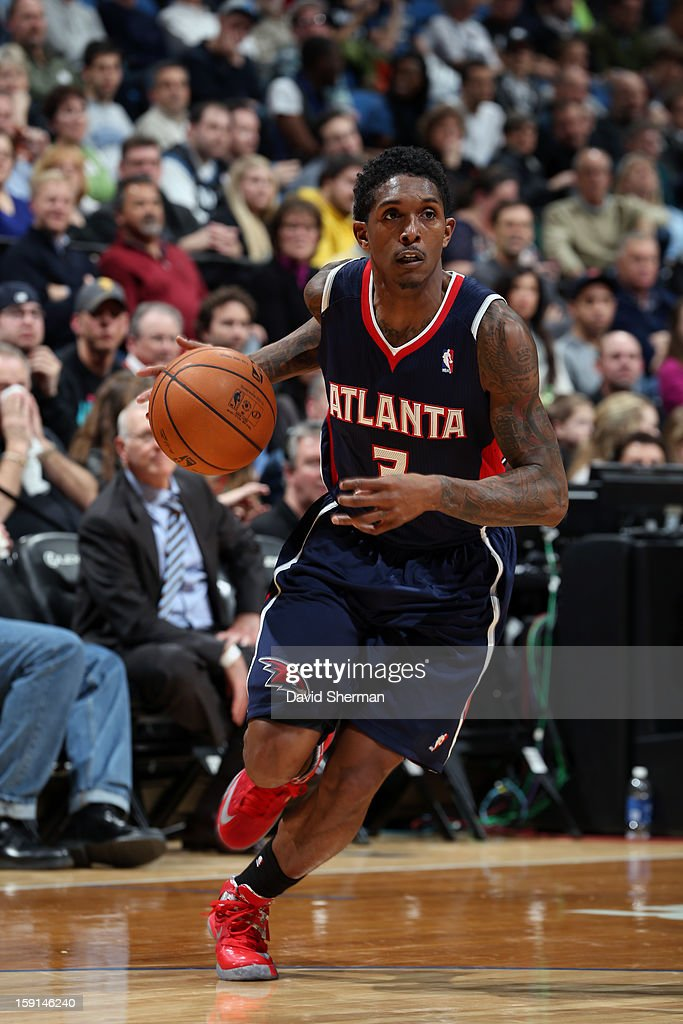 Louis Williams #3 of the Atlanta Hawks dribbles the ball up the floor against the Minnesota Timberwolves during the game on January 8, 2013 at Target Center in Minneapolis, Minnesota.