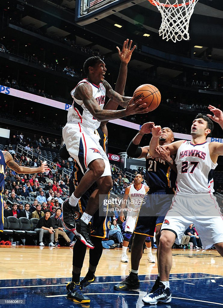 <a gi-track='captionPersonalityLinkClicked' href=/galleries/search?phrase=Louis+Williams&family=editorial&specificpeople=670315 ng-click='$event.stopPropagation()'>Louis Williams</a> #3 of the Atlanta Hawks drives to the basket against the Indiana Pacers at Philips Arena on November 7, 2012 in Atlanta, Georgia.